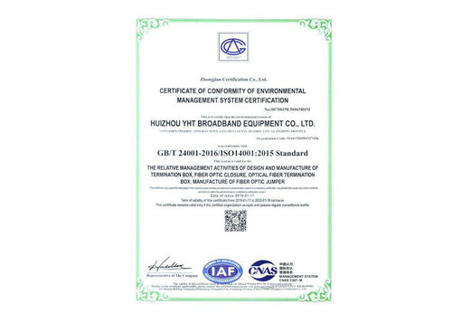 YHT certified by ISO14001:2015 & OHSAS 18001:2007