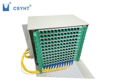Light Weight Fiber Optic Breakout Box Electrostatic Spraying 144 Cores Loaded In Cabinet