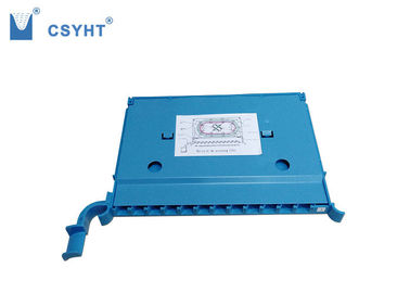 12 Port Fiber Optic Tray 358.3x264.4x25mm With Aluminum Blue Cover