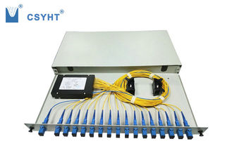 China Grey 19 Inch Slidable Fiber Optic Splitter , Cold Roll Steel Rack Mount Splitter supplier