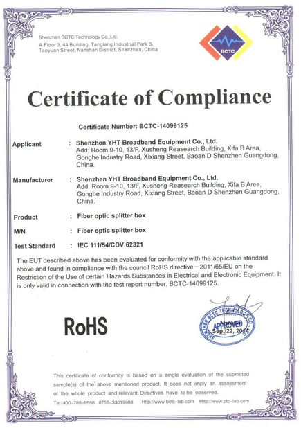 China Shenzhen YHT Broadband Equipment Co. Ltd Certification